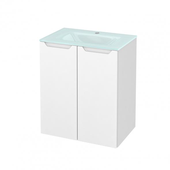 PIMA Blanc - Meuble salle de bains N°692 - Vasque EGEE - 2 portes Prof.40 - L60,5xH71,2xP40,5