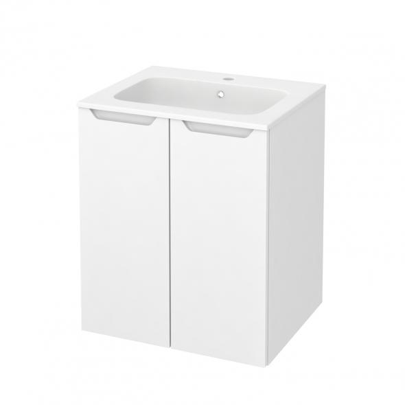Meuble de salle de bains - Plan vasque REZO - PIMA Blanc - 2 portes - Côtés décors - L60,5 x H71,5 x P50,5 cm