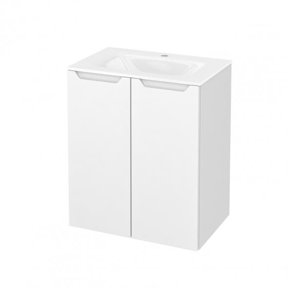 Meuble de salle de bains - Plan vasque VALA - PIMA Blanc - 2 portes - Côtés décors - L60,5 x H71,2 x P40,5 cm