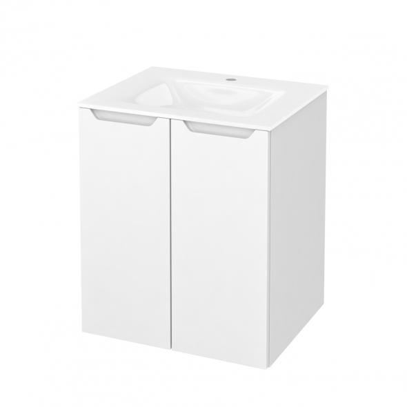 Meuble de salle de bains - Plan vasque VALA - PIMA Blanc - 2 portes - Côtés décors - L60,5 x H71,2 x P50,5 cm