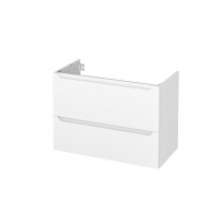 Meuble de salle de bains - Sous vasque - PIMA Blanc - 2 tiroirs - Côtés décors - L80 x H57 x P40 cm