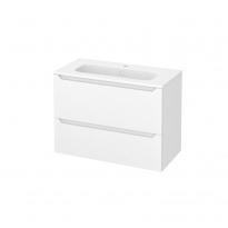 Meuble de salle de bains - Plan vasque REZO - PIMA Blanc - 2 tiroirs - Côtés décors - L80,5 x H58,5 x P40,5 cm