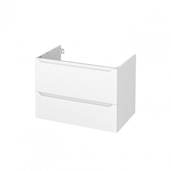 Meuble de salle de bains - Sous vasque - PIMA Blanc - 2 tiroirs - Côtés blancs - L80 x H57 x P50 cm