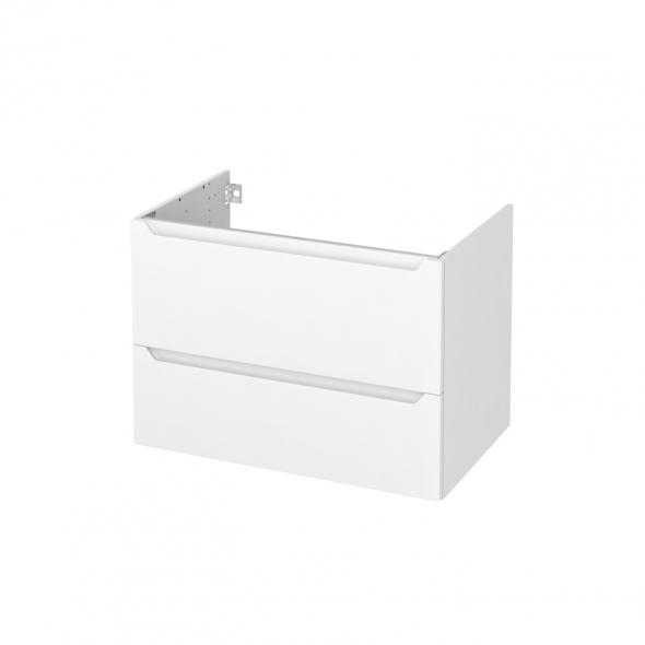 Meuble de salle de bains - Sous vasque - PIMA Blanc - 2 tiroirs - Côtés décors - L80 x H57 x P50 cm