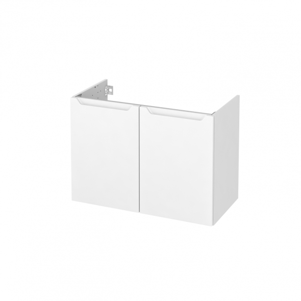 Meuble de salle de bains - Sous vasque - PIMA Blanc - 2 portes - Côtés décors - L80 x H57 x P40 cm