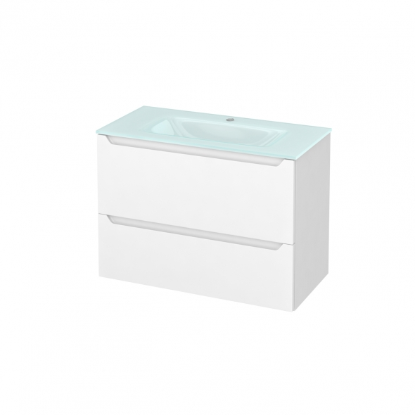 Meuble de salle de bains - Plan vasque EGEE - PIMA Blanc - 2 tiroirs - Côtés blancs - L80,5 x H58,2 x P40,5 cm