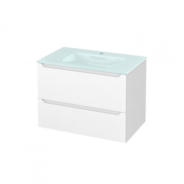 PIMA Blanc - Meuble salle de bains N°631 - Vasque EGEE - 2 tiroirs  - L80,5xH58,2xP50,5
