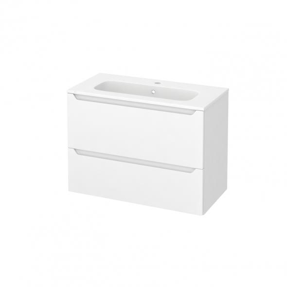 Meuble de salle de bains - Plan vasque REZO - PIMA Blanc - 2 tiroirs - Côtés blancs - L80,5 x H58,5 x P40,5 cm