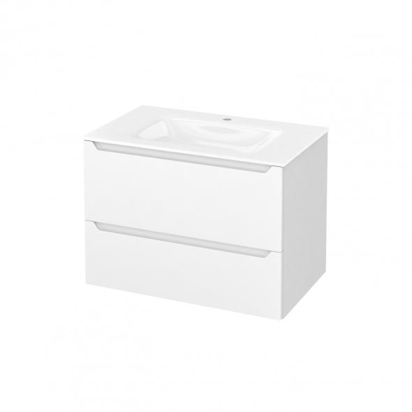 Meuble de salle de bains - Plan vasque VALA - PIMA Blanc - 2 tiroirs - Côtés blancs - L80,5 x H58,2 x P50,5 cm