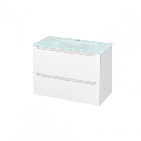 Meuble de salle de bains - Plan vasque EGEE - PIMA Blanc - 2 tiroirs - Côtés décors - L80,5 x H58,2 x P40,5 cm
