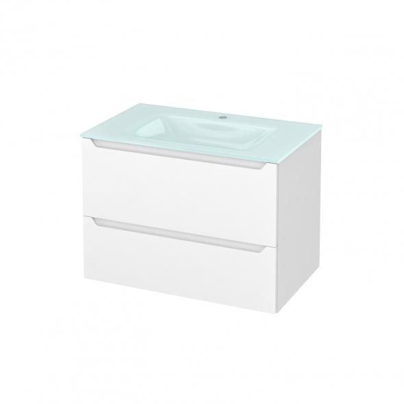 PIMA Blanc - Meuble salle de bains N°632 - Vasque EGEE - 2 tiroirs  - L80,5xH58,2xP50,5