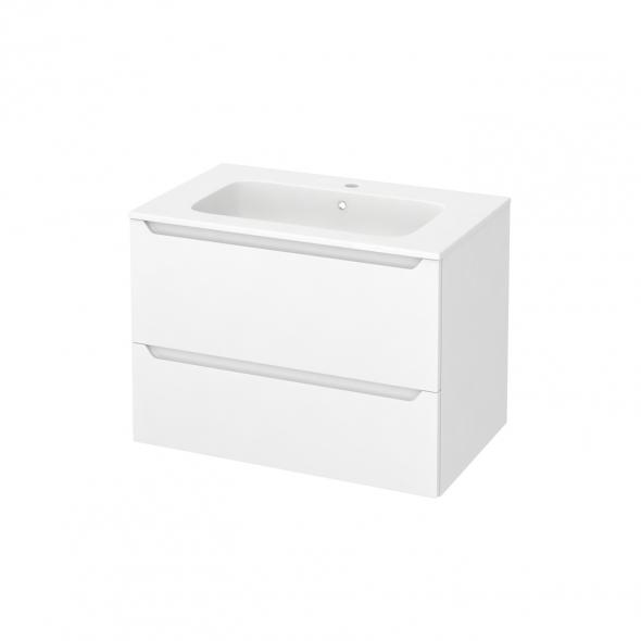 Meuble de salle de bains - Plan vasque REZO - PIMA Blanc - 2 tiroirs - Côtés décors - L80,5 x H58,5 x P50,5 cm