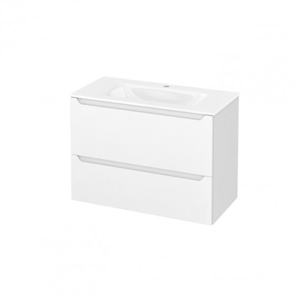 Meuble de salle de bains - Plan vasque VALA - PIMA Blanc - 2 tiroirs - Côtés décors - L80,5 x H58,2 x P40,5 cm