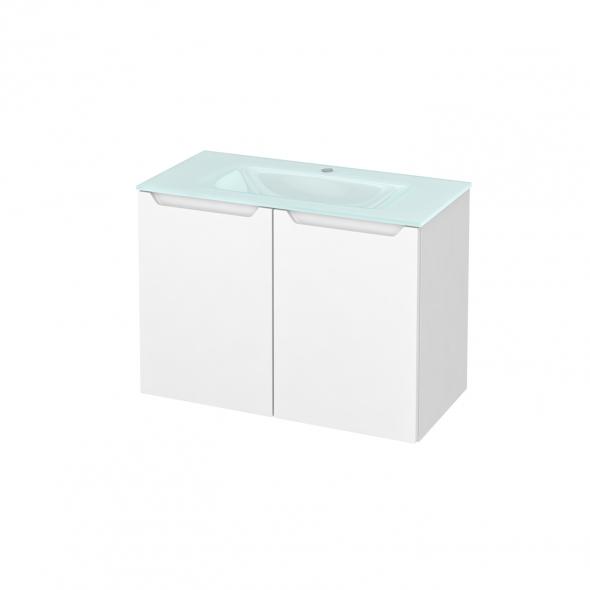 Meuble de salle de bains - Plan vasque EGEE - PIMA Blanc - 2 portes - Côtés blancs - L80,5 x H58,2 x P40,5 cm