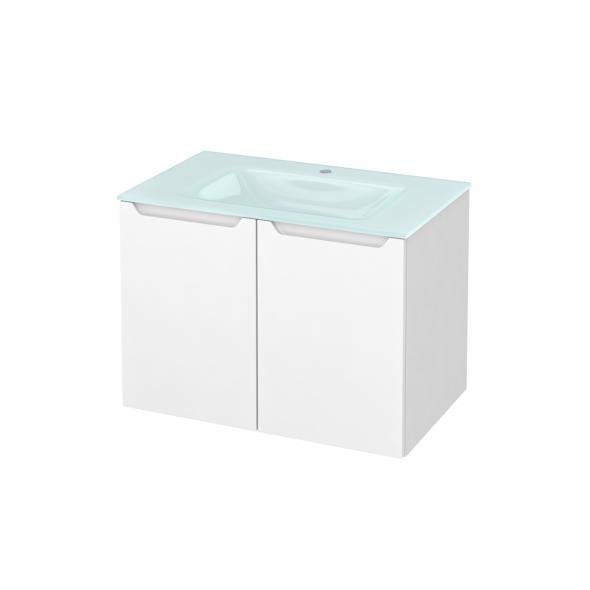Meuble de salle de bains - Plan vasque EGEE - PIMA Blanc - 2 portes - Côtés blancs - L80,5 x H58,2 x P50,5 cm