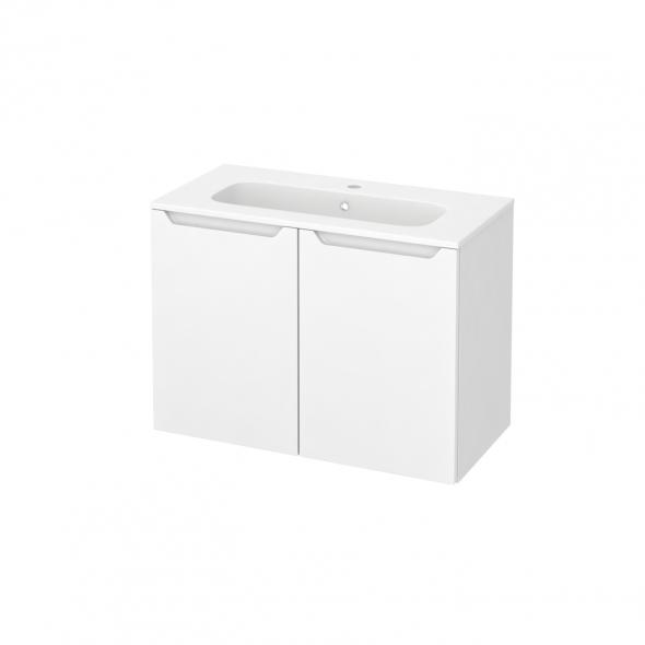 Meuble de salle de bains - Plan vasque REZO - PIMA Blanc - 2 portes - Côtés blancs - L80,5 x H58,5 x P40,5 cm