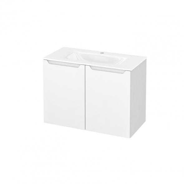Meuble de salle de bains - Plan vasque VALA - PIMA Blanc - 2 portes - Côtés blancs - L80,5 x H58,2 x P40,5 cm