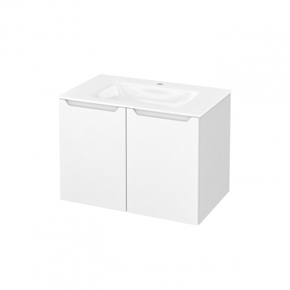 Meuble de salle de bains - Plan vasque VALA - PIMA Blanc - 2 portes - Côtés blancs - L80,5 x H58,2 x P50,5 cm