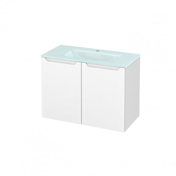 Meuble de salle de bains - Plan vasque EGEE - PIMA Blanc - 2 portes - Côtés décors - L80,5 x H58,2 x P40,5 cm
