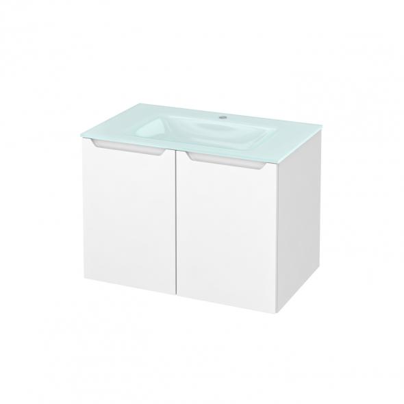 PIMA Blanc - Meuble salle de bains N°642 - Vasque EGEE - 2 portes  - L80,5xH58,2xP50,5