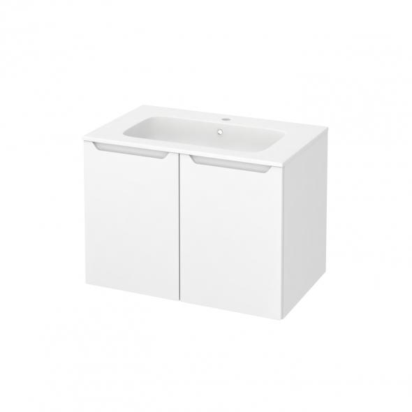 Meuble de salle de bains - Plan vasque REZO - PIMA Blanc - 2 portes - Côtés décors - L80,5 x H58,5 x P50,5 cm