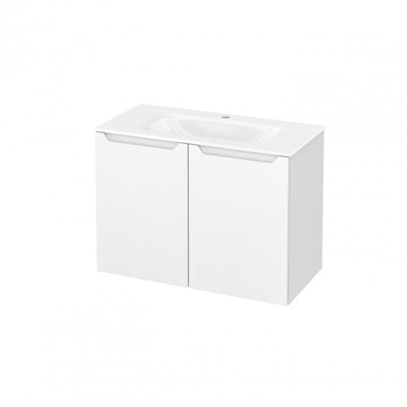 Meuble de salle de bains - Plan vasque VALA - PIMA Blanc - 2 portes - Côtés décors - L80,5 x H58,2 x P40,5 cm