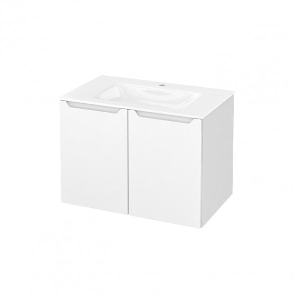 Meuble de salle de bains - Plan vasque VALA - PIMA Blanc - 2 portes - Côtés décors - L80,5 x H58,2 x P50,5 cm