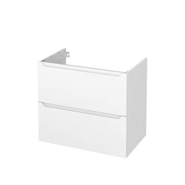 Meuble de salle de bains - Sous vasque - PIMA Blanc - 2 tiroirs - Côtés blancs - L80 x H70 x P50 cm