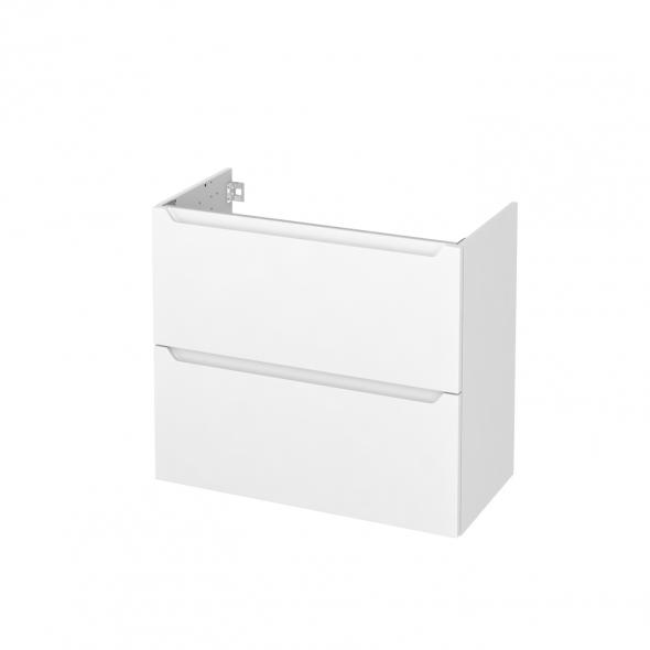 Meuble de salle de bains - Sous vasque - PIMA Blanc - 2 tiroirs - Côtés décors - L80 x H70 x P40 cm