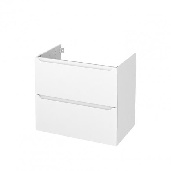 Meuble de salle de bains - Sous vasque - PIMA Blanc - 2 tiroirs - Côtés décors - L80 x H70 x P50 cm