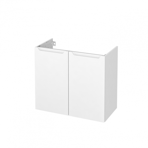 Meuble de salle de bains - Sous vasque - PIMA Blanc - 2 portes - Côtés blancs - L80 x H70 x P40 cm
