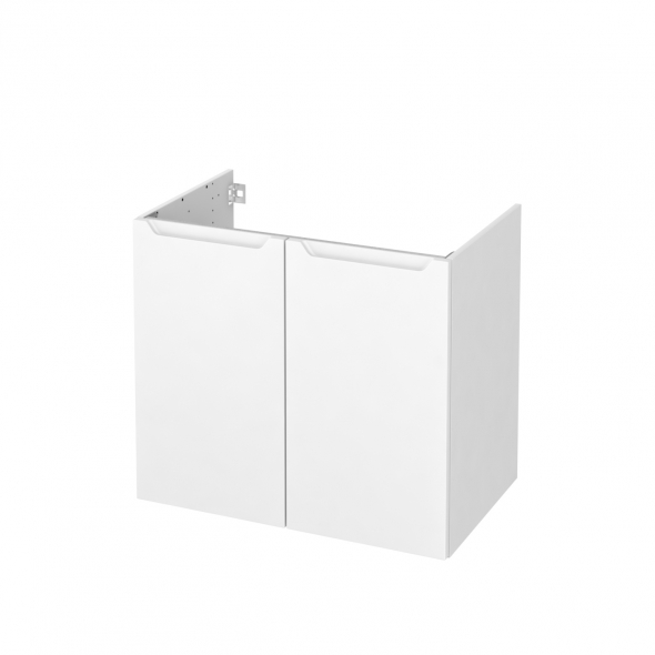 Meuble de salle de bains - Sous vasque - PIMA Blanc - 2 portes - Côtés blancs - L80 x H70 x P50 cm