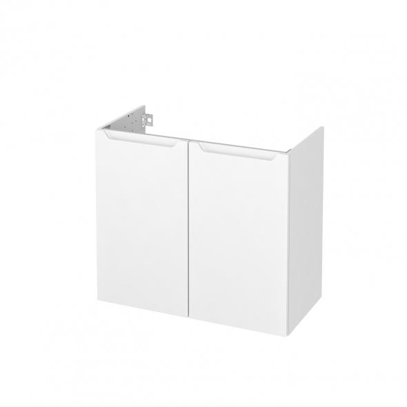 Meuble de salle de bains - Sous vasque - PIMA Blanc - 2 portes - Côtés décors - L80 x H70 x P40 cm