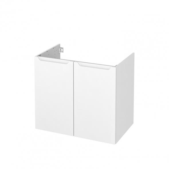 PIMA Blanc - Meuble sous vasque N°702 - Côté décor - 2 portes - L80xH70xP50