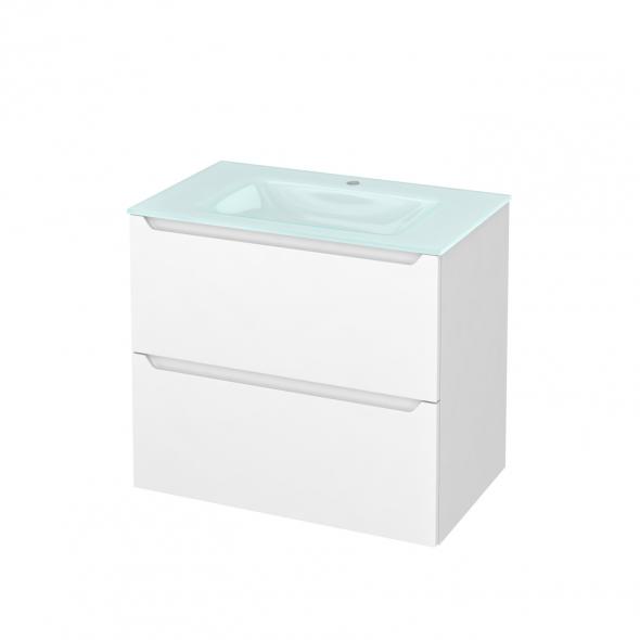 PIMA Blanc - Meuble salle de bains N°601 - Vasque EGEE - 2 tiroirs  - L80,5xH71,2xP50,5
