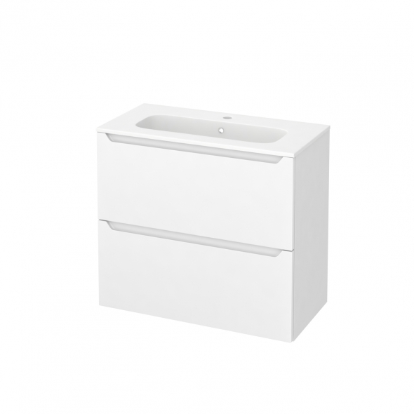 PIMA Blanc - Meuble salle de bains N°601 - Vasque REZO - 2 tiroirs Prof.40 - L80,5xH71,5xP40,5