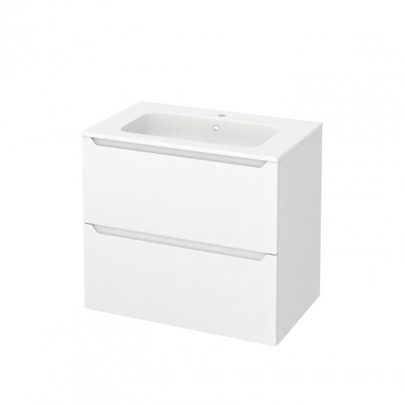 Meuble de salle de bains - Plan vasque REZO - PIMA Blanc - 2 tiroirs - Côtés blancs - L80,5 x H71,5 x P50,5 cm