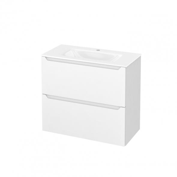 Meuble de salle de bains - Plan vasque VALA - PIMA Blanc - 2 tiroirs - Côtés blancs - L80,5 x H71,2 x P40,5 cm