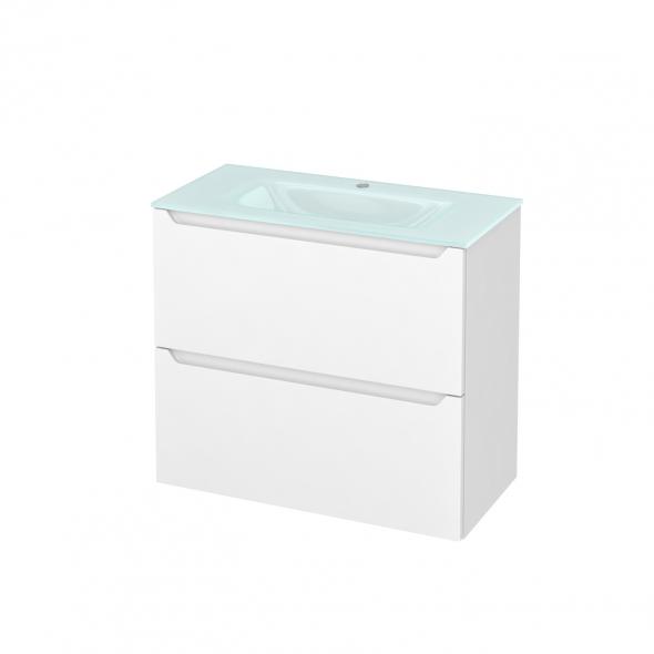 Meuble de salle de bains - Plan vasque EGEE - PIMA Blanc - 2 tiroirs - Côtés décors - L80,5 x H71,2 x P40,5 cm