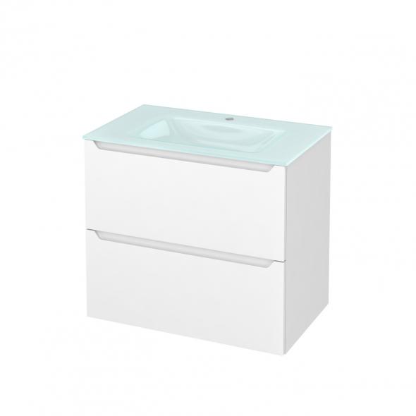 Meuble de salle de bains - Plan vasque EGEE - PIMA Blanc - 2 tiroirs - Côtés décors - L80,5 x H71,2 x P50,5 cm