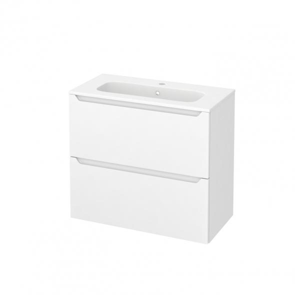Meuble de salle de bains - Plan vasque REZO - PIMA Blanc - 2 tiroirs - Côtés décors - L80,5 x H71,5 x P40,5 cm