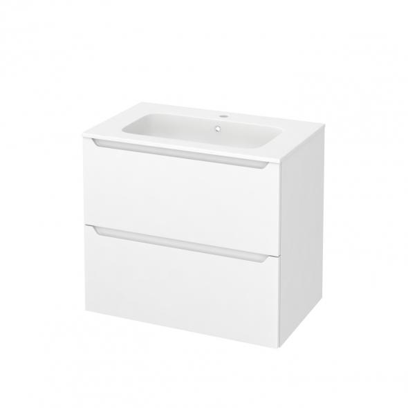 Meuble de salle de bains - Plan vasque REZO - PIMA Blanc - 2 tiroirs - Côtés décors - L80,5 x H71,5 x P50,5 cm