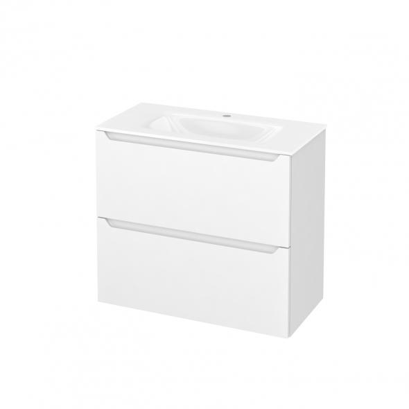 Meuble de salle de bains - Plan vasque VALA - PIMA Blanc - 2 tiroirs - Côtés décors - L80,5 x H71,2 x P40,5 cm
