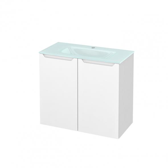 Meuble de salle de bains - Plan vasque EGEE - PIMA Blanc - 2 portes - Côtés blancs - L80,5 x H71,2 x P40,5 cm