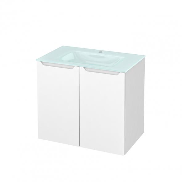 Meuble de salle de bains - Plan vasque EGEE - PIMA Blanc - 2 portes - Côtés blancs - L80,5 x H71,2 x P50,5 cm