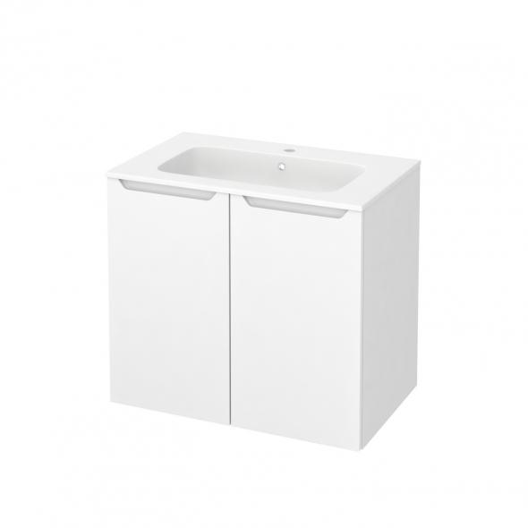 Meuble de salle de bains - Plan vasque REZO - PIMA Blanc - 2 portes - Côtés blancs - L80,5 x H71,5 x P50,5 cm