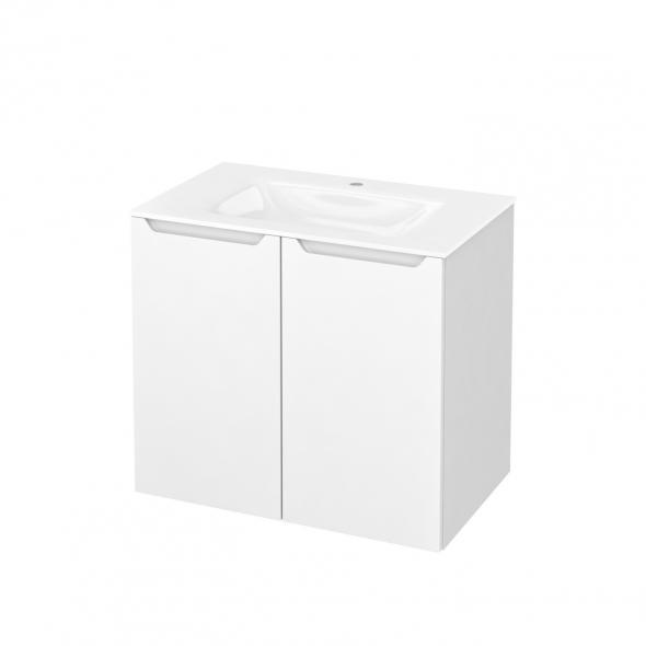 Meuble de salle de bains - Plan vasque VALA - PIMA Blanc - 2 portes - Côtés blancs - L80,5 x H71,2 x P50,5 cm