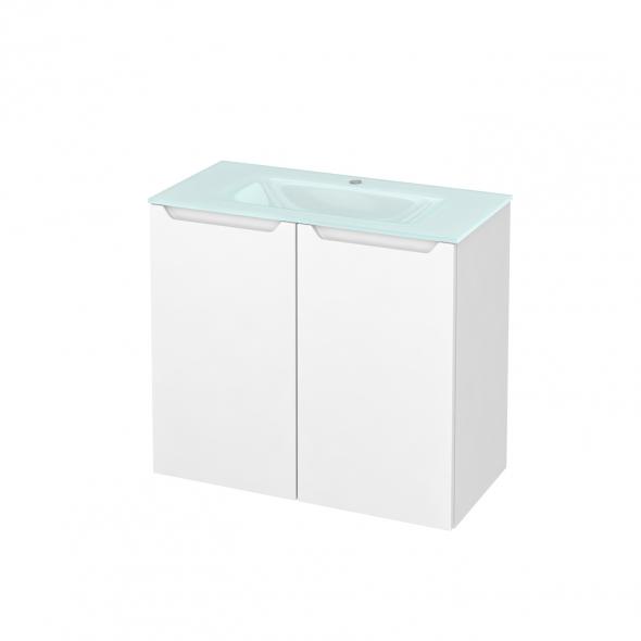 Meuble de salle de bains - Plan vasque EGEE - PIMA Blanc - 2 portes - Côtés décors - L80,5 x H71,2 x P40,5 cm
