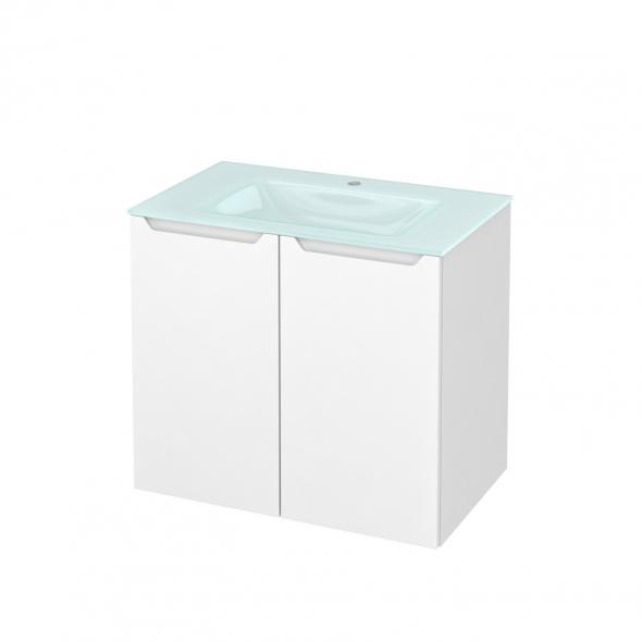Meuble de salle de bains - Plan vasque EGEE - PIMA Blanc - 2 portes - Côtés décors - L80,5 x H71,2 x P50,5 cm
