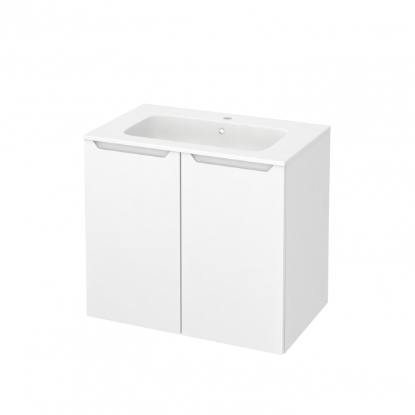 PIMA Blanc - Meuble salle de bains N°702 - Vasque REZO - 2 portes  - L80,5xH71,5xP50,5